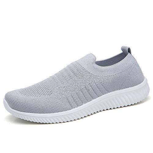 Luckhome Arbeitsschuhe Damen Fitness Schuhe Damen Lieferung Nicht Erhalten Turnschuhe Gewebte atmungsaktive ultraleichte Turnschuhe mit flachem Mesh für Damen Freizeitschuhe Lazy Shoes(Grau,EU:37)