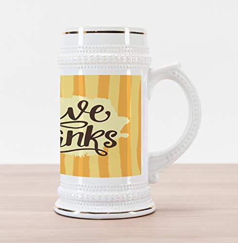 Lunarable Thanksgiving Beer Stein Mug, Hand Written Give Thanks on Brushstroke Strips, Traditional Style Decorative Printed Ceramic Large Beer Mug Stein, Mustard Pale Orange Pale Yellow Seal Brown