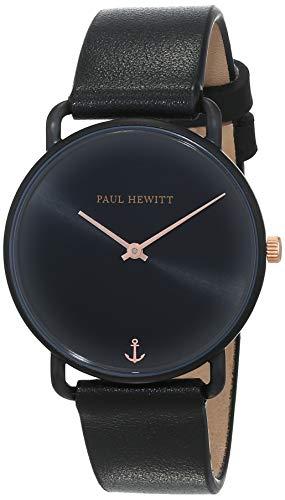 PAUL HEWITT Damen Uhr Miss Ocean Line Black Sunray in Schwarz mit Lederarmband in Schwarz