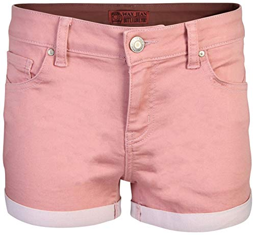 Wax Women\'s Juniors Perfect Fit Mid-Rise Denim Shorts (Medium, Mauve)'