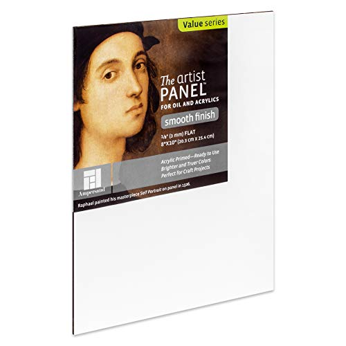 Ampersand Art Supply Wood Gesso Artist Painting Panel: Primed Smooth, 8'x10', 1/8 Inch Depth