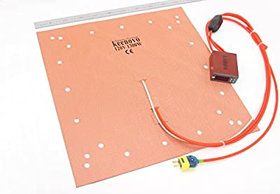 "Keenovo Silicone Heater CR10 S5 3D Printer Heatbed Build Plate Heating Pad 20"" Dual Heating Zones+Integrated Digital Controller & Plug (120V)"