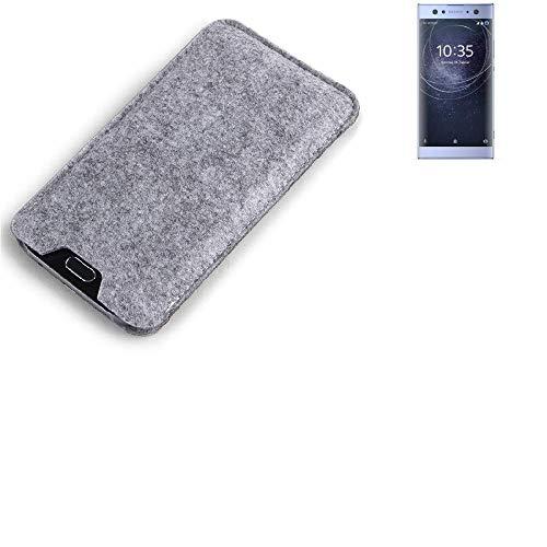 K-S-Trade Filz Schutz Hülle Für Sony Xperia XA2 Ultra Dual-SIM Schutzhülle Filztasche Filz Tasche Hülle Sleeve Handyhülle Filzhülle Grau