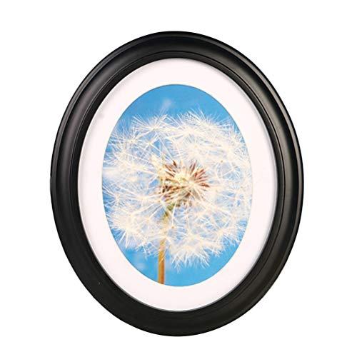 Garneck 10 Zoll Fotorahmen Klassische Holz Ovale Form Bilderrahmen Wandbehang Dekoration für Wohnzimmer Schlafzimmer-Senden Nahtlose Nagel Und S Nagel (Schwarz)
