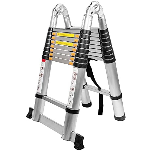 BEETRO 18.4ft Aluminum Telescoping Ladder, A Type Portable Telescopic Extension Ladder for Outdoor Working, Household Use, 330lb Capacity, More Durable and Safer with Balance Rod