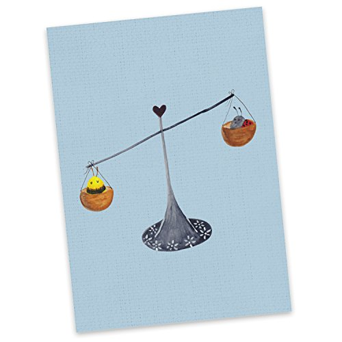 Mr. & Mrs. Panda Geschenkkarte, Einladung, Postkarte Sternzeichen Waage - Farbe Blau Pastell