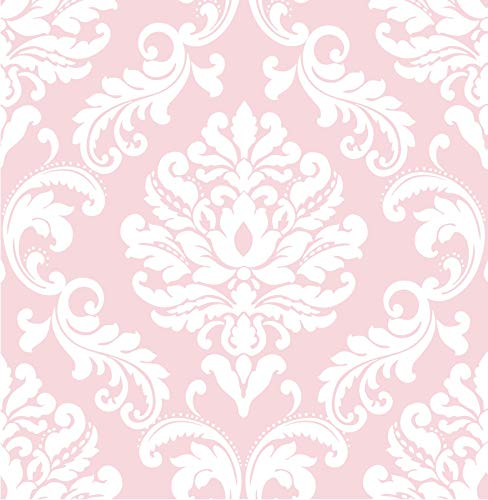 NuWallpaper Wall Pops NU1397 Pink Ariel Peel and Stick Peel & Stick Wallpaper