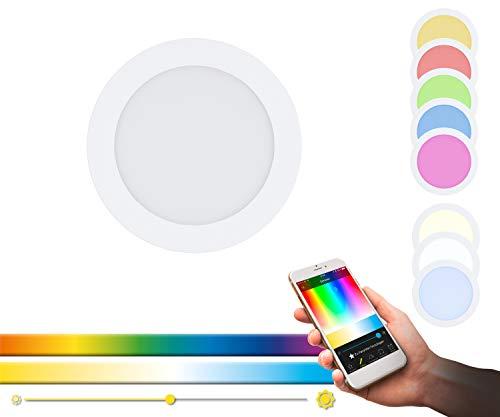 EGLO connect lámpara LED empotrada Fueva-C, lámpara Empotrable Smart Home, material metal fundido, plástico, color Blanco, 17 cm, regulable, tonos blancos y colores ajustables