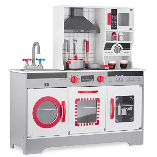 TikTakToo komplette Kinderküche in weiß rot aus Holz Kinderspielküche Spielzeugküche Holzküche Küche mit Licht und Sound NEU