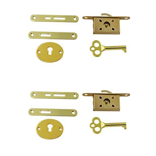 Geenite 2 Pack Wood Box Locks, Vintage Cigar Case Locks Metal Latch Small Locks Antique Jewelry Box Locks Wood Humidor Locks Woodworking DIY Hardware (Gold)