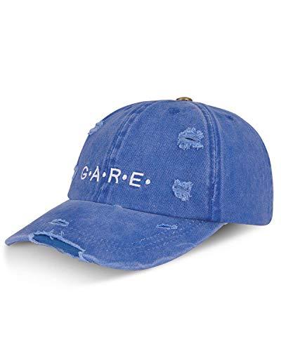 LIVACASA Kinder Cap Basecap Mädchen Jungen Verstellbar Kappe Sonnenschtz Cappi Vintage Baumwolle Kindercap Cappy Snapback Schildkappe Sommer Weich Blau