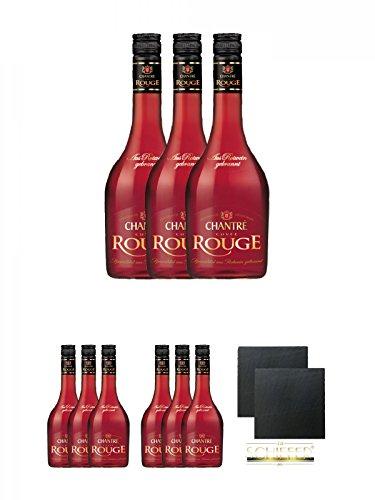 Chantrè Cuvee Rouge 3 x 0,7 Liter + Chantrè Cuvee Rouge 3 x 0,7 Liter + Chantrè Cuvee Rouge 3 x 0,7 Liter + Schiefer Glasuntersetzer eckig ca. 9,5 cm Ø 2 Stück