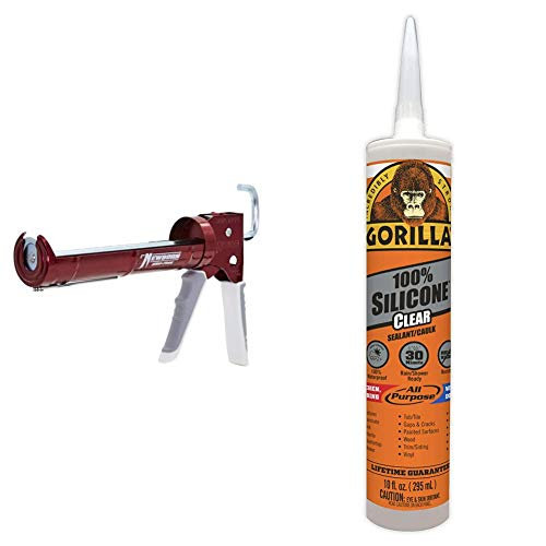 Newborn 930-GTD Drip-Free Smooth Hex Rod Cradle Caulking Gun & Gorilla Clear 100 Percent Silicone Sealant Caulk, Waterproof and Mold & Mildew Resistant, 10 Ounce Cartridge, Clear, (Pack of 1)