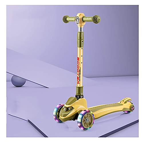 GAOTTINGSD Patinete Freestyle para niños de tres ruedas con luces LED de poliuretano y altura ajustable, 64 cm ~ 83 cm, carga máxima de 90 kg, varios colores a elegir