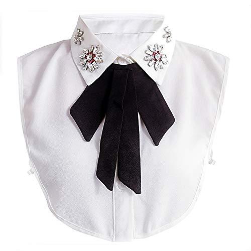 YAKEFJFrauen Kragen Abnehmbare Hälfte Shirt Bluse mit Strass