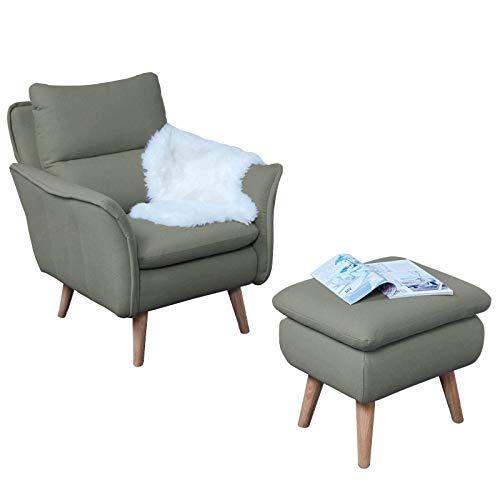 Single Armchair Reading Chair TV Chair Recliner Chair Recliner Chair TV Chair Recliner Chair in Country House Style Retro Design in Khaki Grey Oak