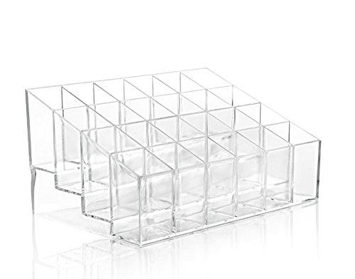 Leisial 24 Soporte para Pintalabios Clara Acrílico Cosméticos Organizador Caso Transparente Cosméticos Pequeño Rack de Muestras (#1)