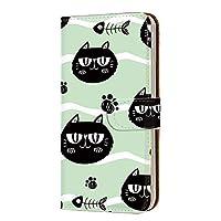 HUAWEI P30 Pro (HW-02L・VOG-L29) 対応 PU手帳型 カードタイプ スマホケース [くろねこ・グリーン] キャット かわいい 猫ちゃん ファーウェイ ピーサーティープロ ワイモバイル SIMフリー スマホカバー 携帯ケース スタンド [FFANY] cat 00h_174@02c