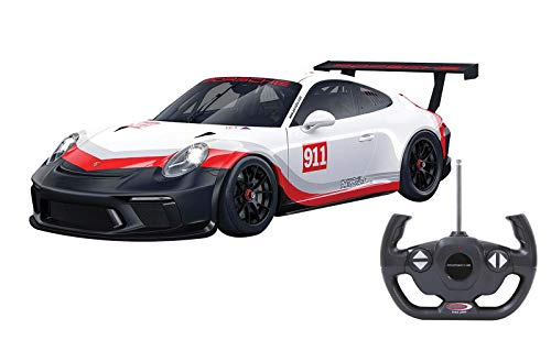 Jamara- 405153-Porsche 911 GT3 Cup 1:14 Luci LED, Licenza Ufficiale, velocità 9 Km/h Auto radiocomandata, Colore Bianco, Rosso, Nero, 405153