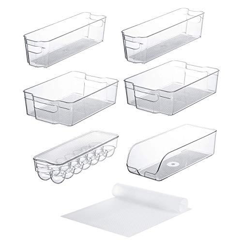 Juego de 10 cubos y organizadores para nevera, apilables, incluye 6 contenedores para contenedores de alimentos y 4 revestimientos para estantes de frigorífico