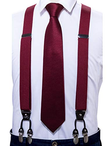 Barry.Wang Men Red Suspender Tie Set Elastic Y Type Heavy Duty 6 Clips Braces for Wedding