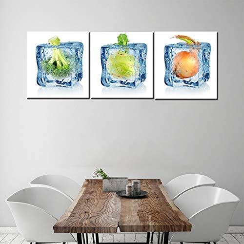 ZXCVWY 3 platen ijs groente poster canvas schilderij wandschilderijen voor woonkamer eetkamer keuken decoratie