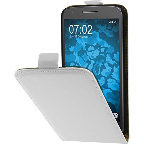 PhoneNatic Kunst-Lederhülle kompatibel mit Lenovo Moto E3 - Flip-Hülle weiß + 2 Schutzfolien