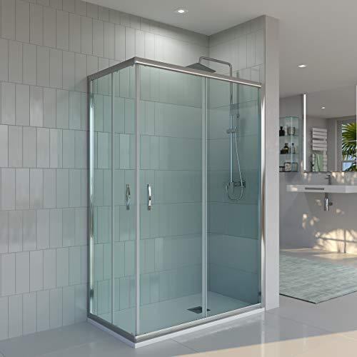 Mampara de ducha ANGULAR-RECTANGULAR VAROBATH de 2 FIJAS + 2 CORREDERAS - Vidrio 6 MM TRANSPARENTE -Tratamiento ANTICAL INCLUIDO (70-80x90-110, Cromo)