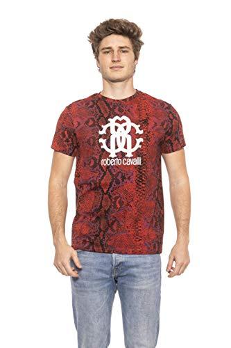 Roberto Cavalli HSH02T T-Shirt Maniche Corte Uomo Rosso Red 2XL