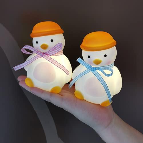 Wandskllss Luz de noche LED para niños Patito lindo con pilas Luz de noche Luz de noche Luz de noche para niños Decoración de dormitorio de bebé Dormir 2 uds