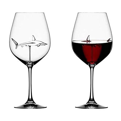 goodjinHH 2er Hai Rotweinglas,Creative Haifisch Glas Shark Weingläser Karaffen Goblet Glas Alkohol Rot Wein Cocktail Whisky Gläser Weinflasche Kristall Partyflöten Glas