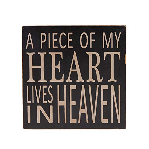 WHY Decor Wood Box Sign Wall Art Quotes Wall Decor Office Decor for Desk Cubicle Decor Quote Box Wood Sign with Saying A Piece of My Heart Lives in Heaven 5.75 Inch by 5.75Inch