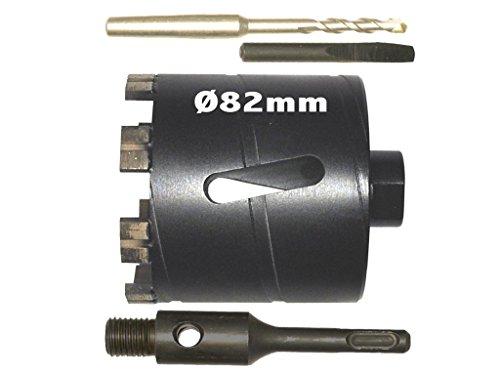 82mm Diamant Hohlbohrkrone Laser geschweißt, SDS-Plus Adapter 120mm, Dosensenker, Bohrkrone, Diamantbohrkrone, Dosenbohrer, Lochbohrer, Kernbohrer, Kernbohrkrone, Steckdosenbohrer, Lasergeschweisst.