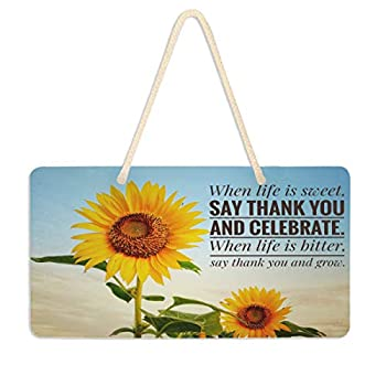 Exnundod Spring Sunflower Wall Hanging Home Decor Pediment Door Sign Motivational Quote Inspirational Life Quote Summer Plaque Porch Light Weight 6 x11  for Yard Office Shop Cafe Restaurant