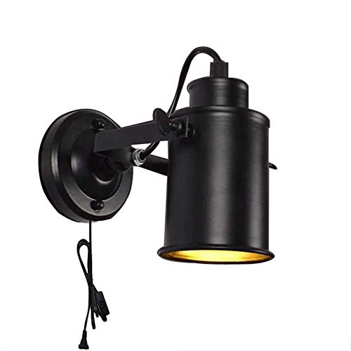 QEGY E27 Lámpara de Pared Industrial con Cable, Vintage Aplique de Pared Dormitorio con Interruptor, Retro Negra Luz de Pared Pasillos Giratorio, 1.8 M Cable y Enchufe