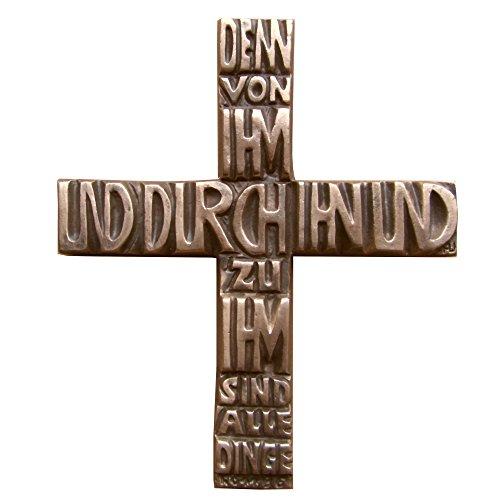 Wilde Bronzekreuz Bronze Kreuz Denn von Ihm und durch Ihn. 17 cm * 15 cm