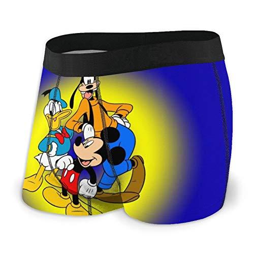 Zsrgvdrf Mickey Minnie Donald Duck Herren Boxershorts S-XXL Print Unterhose Design Super Weich Bequem Und Atmungsaktiv Und Elastisch Schwarz Gr. XXL, Schwarz
