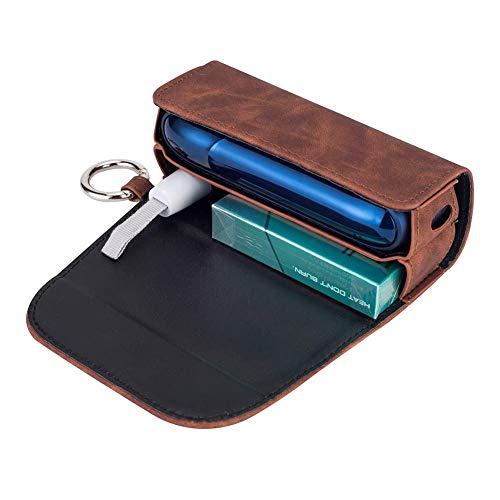 Flyinghedwig Custodia in Cuoio di Alta Qualità PU per IQOS 3.0, Accessori per IQOS Sigaretta con Fermaglio o Fibbia(solo borsa) (Marrone)