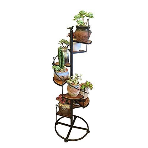 WAJI Blumenrahmen Schmiedeeisen Massivholz Multi-Level-Wohnzimmer Indoor bodenstehenden Blumenregal Balkon Holz Multi-Pflanzen-Stand groß