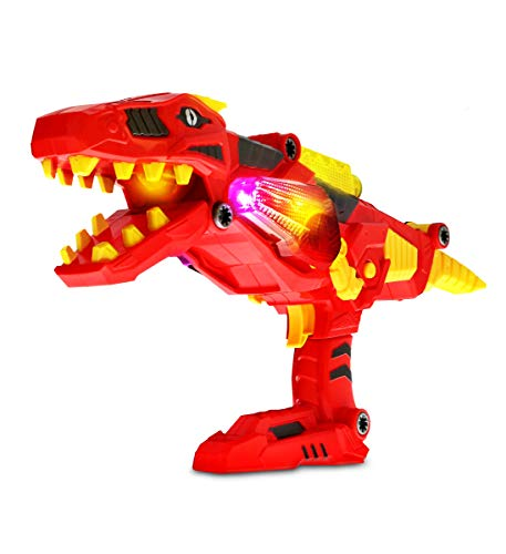 Mozlly Dinosaur Gun 3 in 1 Transforming Space Battle Take Apart Toy Gun with Lights & Sound Tyrannosaurus Rex Blaster Gun Super Charger T-Rex Cool Kids Dinosaur Toy LED Shooter for Boys Toddlers Kids