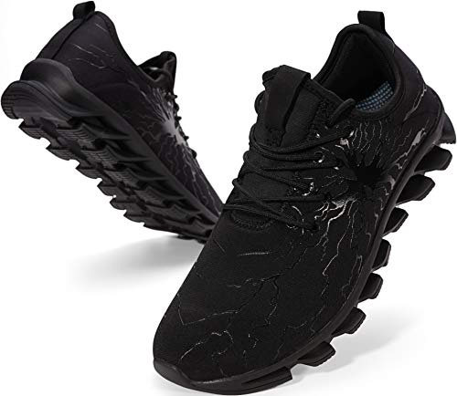 BRONAX Mens Black Running Off to College Shoes Slip on Lightweight Athletic Gifts for Sport Stability Size 8 Gym Tennis Road Trail Cushion Run Sneakers for Men Male