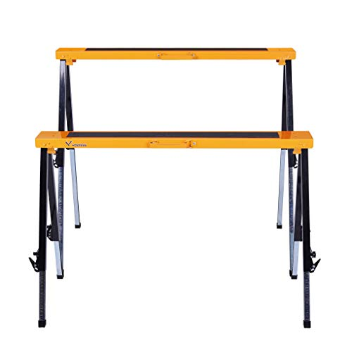 Multi Purpose Steel Sawhorse, Folding Legs Height Adjustable 330 Lbs Load Capacity Per Unit Twin Pack WK-SH032T