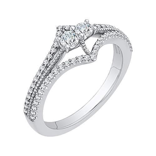 KATARINA Anillo de plata de ley curvada de dos filas de diamantes (3/8 cttw, J-K, SI2-I1) (tamaño 4.5)