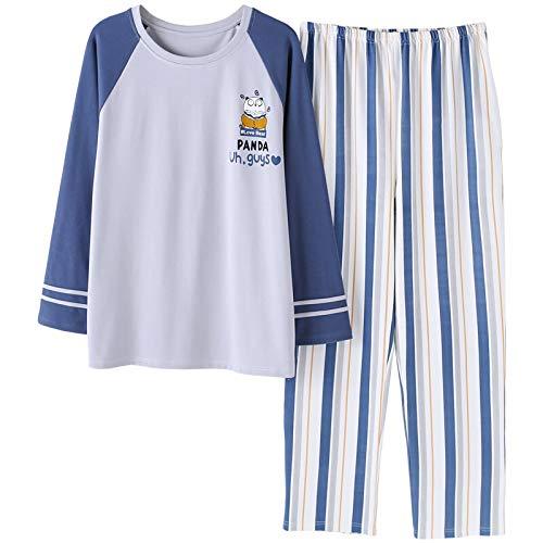 XFLOWR Winter Cartoon Herren Pyjamas Anzug Runder Kragen Gestreifte Nachtwäsche Langarm Schlaf Lounge Baumwollpyjamas Pyjamas Plus Size XL