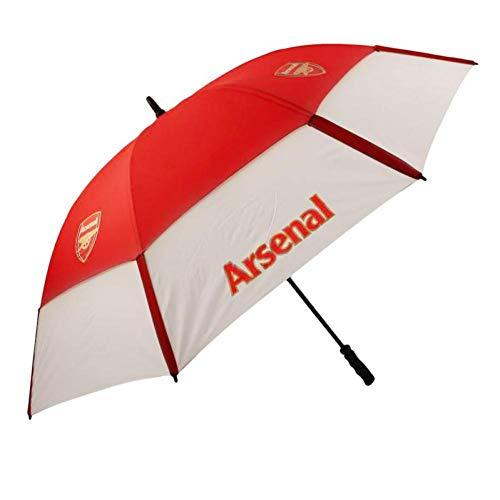 Arsenal FC - Paraguas de golf con dosel doble (Talla Única) (Rojo/Blanco)