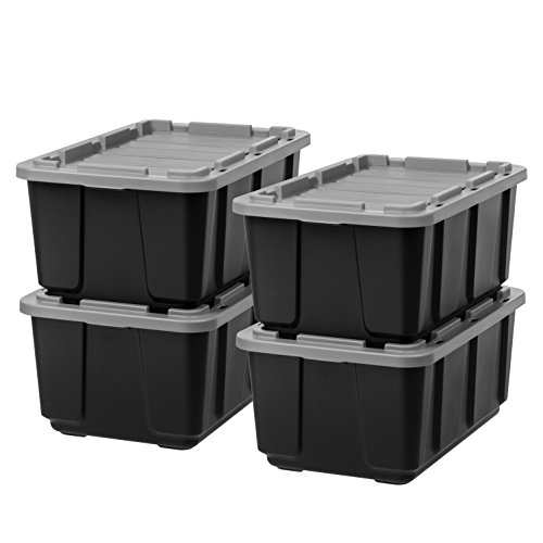 IRIS USA 589091 27 Gallon Utility Tough Tote, 4 Pack, Black/Gray, 4 Piece