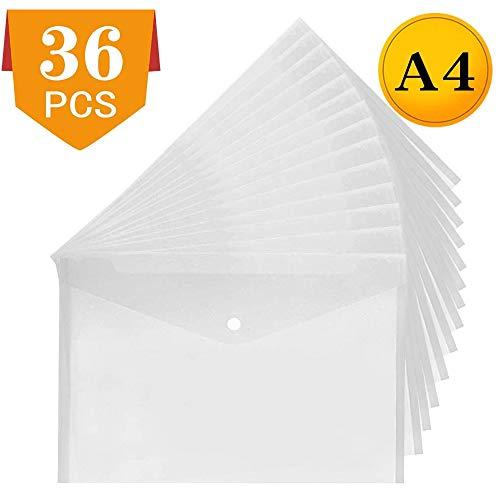 Plastikmappen A4 Ordner löschen Dokumentdateien Popper-Brieftaschen mit Taschentaste 36er Pack
