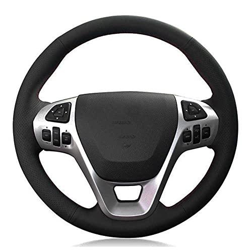 XQRYUB Cubierta de Volante Interior de Coche Negra, Apta para Ford Explorer 2011-2019 Taurus 2013-2019 Edge 2011-2014 Flex 2013