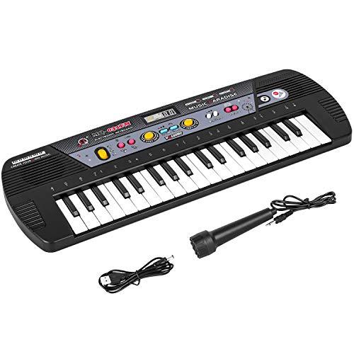 m zimoon Tastiera Elettronica, 37 Tasti Tastiera Pianoforte con Microfono Tastiera Musicale Piano Keyboard Strumento Musicale Giocattolo per Pianoforte per Bambini Principianti