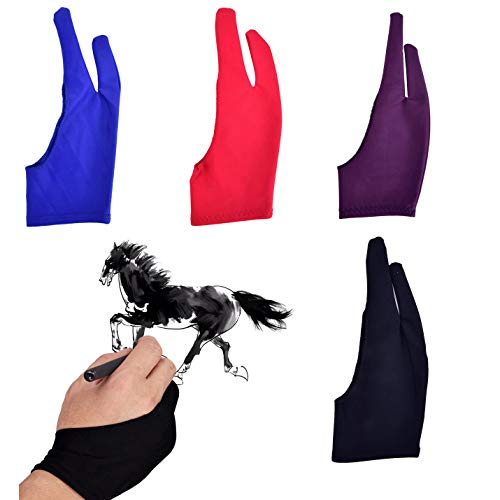 Artist Drawing Tablet Gloves Two Finger Graphics Painting Glove Free Size Creative Both Right and Left Hand 4 Pack Black Blue Red Purple M